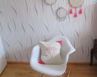 canvas pillow cover pink and off white with embroidered pink-wool