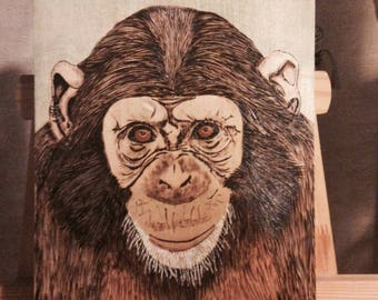 "Pyrography on Basswood ""ancestor"""