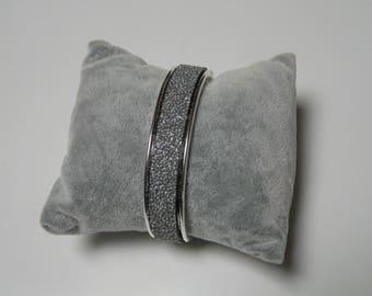 Silver Bangle and strip gray caviar effect