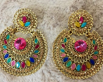 Jhumka, Indian Jewelry, Indian Earrings, Bollywood Jhumka, Ethnic Jewelry , Chandbali Earrings, Kundan Polki Earrings, Gold Jhumki USA