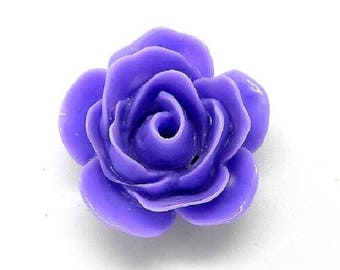 Purple resin flower cabochon
