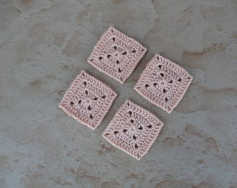 set of 4 square / salmon grannys crochet