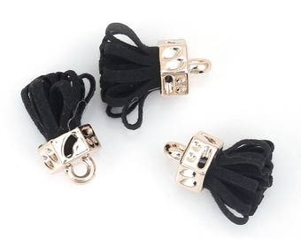 10 charms 25mm-Black Suede gold tassels-