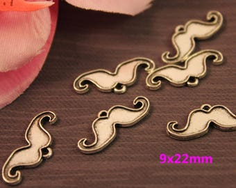 Lot 50 charms silver mustache 9x22mm