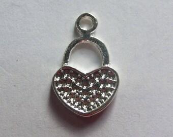 19x12mm silver heart charm