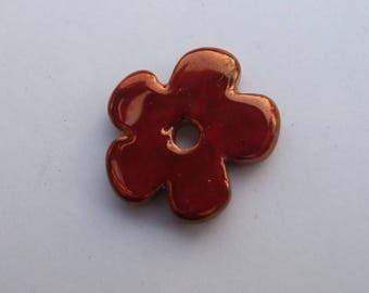CERAMIC RED FLOWER GOLD 24MM