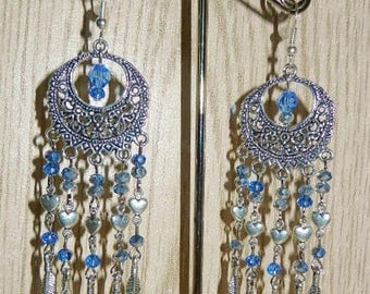Bohemian chic metal silver hearts, feathers and Crystal