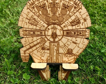 Star Wars inspired Docking Station Natural Wood Stand Custom Personalized Initial Engrave