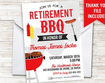 Retirement BBQ Invitation Invite Digital 5x7 Men Grill Chill Beers Backyard Cookout Picnic Party Retired