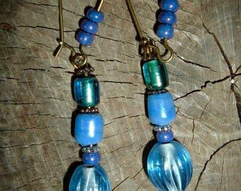 bronze Pearl Earrings blue glass
