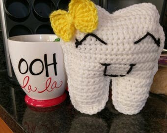 Tooth Fairy Pillow - Crochet Tooth Fairy Pillow - Crochet Tooth Plush - Crochet Tooth Toy