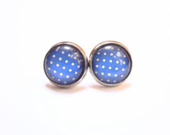 Stud Earrings blue earrings with polka dots
