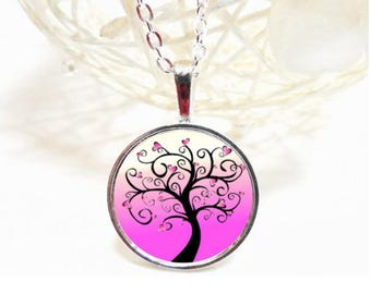 long pink tree hearts necklace