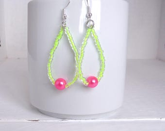 tear drop earrings with beads yellow and fluorescent pink/earrings