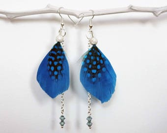Earrings feathers, swarovski crystal and silver beads