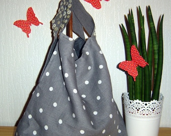 Purse handles gray linen stitched with Pearl buttons
