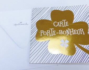 card with clover lucky 4 leaf gold and double card envelope