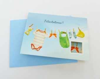 Congratulations baby greeting card with small envelope card window