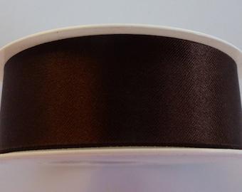 3 meters of 25 mm mm dark brown satin ribbon