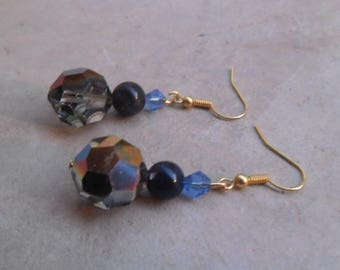 Dangling earrings with vintage blue stone and glass beads