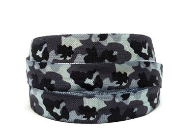 Ribbon camouflage /ruban black and white FOE elastic / hair elastic stretch bracelet or hair ties / fold over elastic