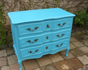 Dresser painted in turquoise patina with 3 inside drawers gray