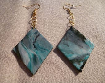 Marbled polymer clay dangle earrings.