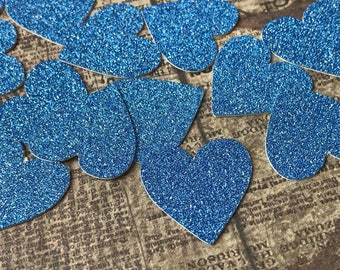 20mm Blue Glitter Hearts. BO1.