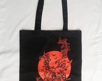 Black tote bag printed Sakura flower