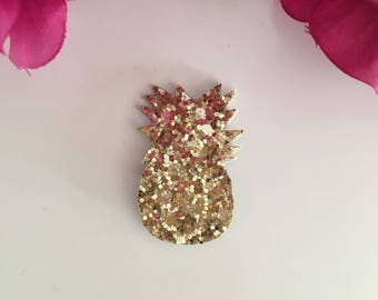Glitter pineapple brooch