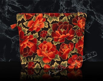Toiletry bag / makeup. Flowers and leaves and PEONIES. 3 colors to choose from. Red/Turquoise/grey