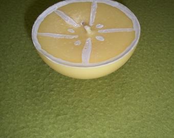 Decorative lemon unscented candle