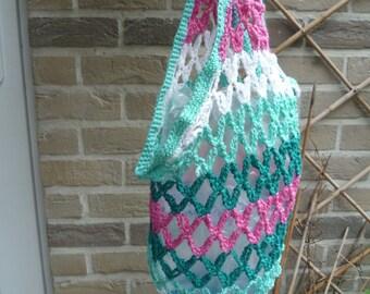 Shopping bag or beach bag, crocheted hands