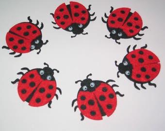 Felt red and black ladybugs embellishments