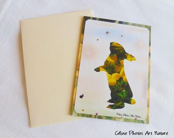"""""""Spring Bunny"""" handmade double card 10.5x15cm from a photograph of a field of clover flowers."""