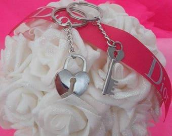 Silver heart key lock and key