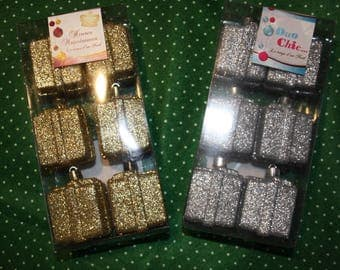 Set of 12 small gifts gold or silver glitter for Christmas decoration