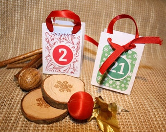 Set of 24 Mini white paper for advent calendar bags