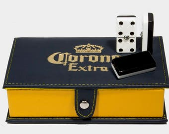 Corona Beer Domino Double Six, 2 Coats: Black - White 100% Acrylic. Faux Leather Case