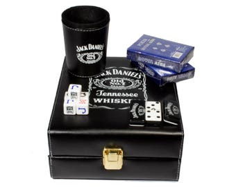 Jack Daniels Deluxe Set 3 Games: Dominó, Dice Cup, 2 Poker Cards