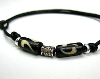 Bracelet leather cord and 925 N3514