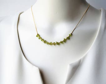 Peridot Necklace,August Birthstone Necklace,Peridot Jewelry,Peridot August Birthstone,Stone Necklace,Beaded Necklace,August Birthstone Gift