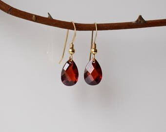 Red Zircon Earrings, Gold Dangle Earrings, Gold Earrings, Red Drop Earrings, Gold Drop Earrings, Red Stone Earrings, Gold Filled Earrings