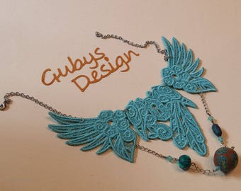 Lace necklace embroidery turquoise with silver chain