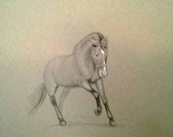 Horse race A4, pencil, pastels, charcoal, Fine Art, Contemporary art, littlecl@mail.ru