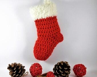 Red and cream crochet befana stocking