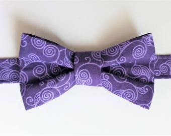 Bow tie for boy purple spiral pattern