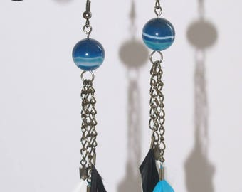 Turquoise feather earrings, Pearl and silver chain