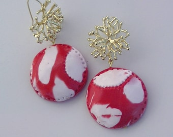 Red and white fimo earrings