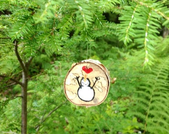 Hand-painted Snowman - Rustic Birch Ornament